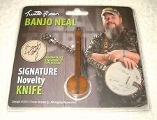 NOVELTY BANJO NEAL POCKET KNIFE w/ ENGRAVED BONE HANDLE Turtle Man *Nice Detail!