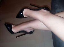 High Heels Stiletto D`Orsay Pumps Schwarz Lack 13 cm absatz in Gr. 37-38-39-40
