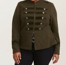 Torrid Olive Green Embellished Zip Front Military Jacket 1X 14 16 #24758