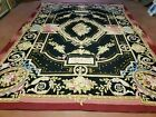 9' X 12' Vintage Hand Made French Design Needlepoint Wool Rug Flat Weave Black