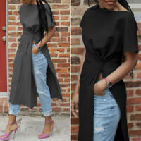 Women Loose Short Sleeve Tops Solid Casual High Slit Blouse Crew Neck Shirt Tee