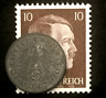 Rare Old WWII German War Coin One Reichspfennig & Stamp World War 2 Artifact