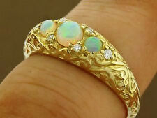 R162- GENUINE 9K Gold NATURAL Opal & DIAMOND Anniversary Trilogy Ring size N