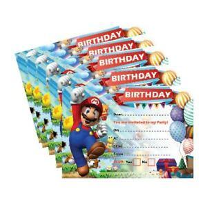 x24 Super Mario Birthday Invitation 250gsm Cards Boys Girls Kids Party