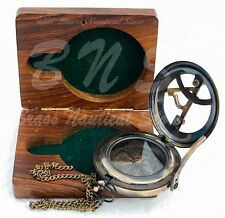 Sundial Compass Brass Nautical Maritime Antique Push Button Vintage Decor Hiking