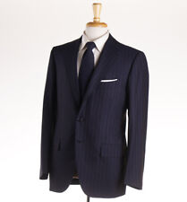 Cesare Attolini Navy With Sky Blue Stripe Wool Suit 40 R (eu 50)