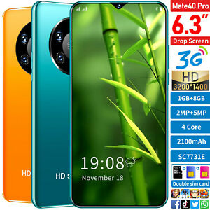 2021 New Mate 40 Pro Cheap 6.3-inch Android Smartphone Dual SIM Quad Core Phone