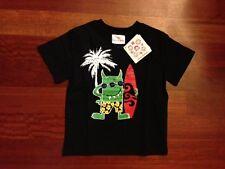 NWT Hanna Andersson Boys Black Surfer Monster Tee Shirt Top 100
