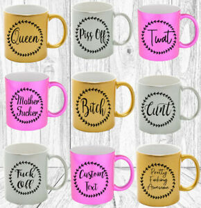 Rude Adult Gift Sparkly Mug Personalised Swear Words birthday Mens Womens Gift