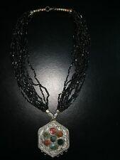 Antique Style Pendant Necklace Hippie Boho Black Beaded