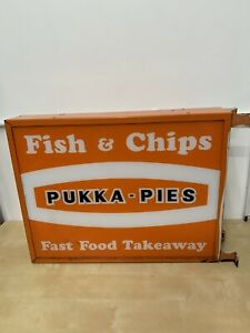 Large Pukka Pies Fish And Chip Shop Sign Man cave Retro Vintage