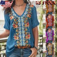 US Women Vintage Print Floral V Neck Short Sleeves Bohemian Blouse Casual Loose