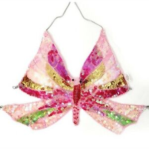 Butterfly Sequin Halter Top Belly Dance Festival Party Club Rave Glitter BH Tops