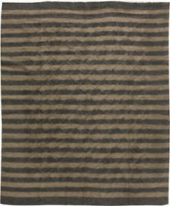 Goat Hair Taurus Collection Rug in Shades of Brown Stripes N11449