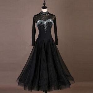 Latin Dance Dress Salsa Tango Cha cha Ballroom Rhinestone Competition Dress F456