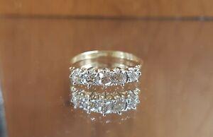 Stunning 18ct gold & Platinum 5 Old cut diamond 0.85ct ring - Free sizing