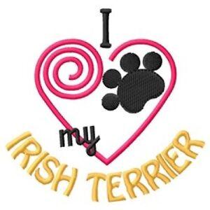 "I ""Heart"" My Irish Terrier Fleece Jacket 1387-2 Size S - XXL"