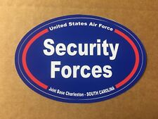 U S AIR FORCE SECURITY FORCES CHARLESTON S. C.  Bumper Sticker - 4 3/4 Inch OVAL
