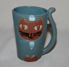 "Smiling Cat Mug 4"" Tall Blue Glaze Clay Pottery Tail Handle 6 Ounces"