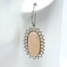 ZMR Pink Chalcedony Gemstone 925 Silver Drop Dangle Earrings