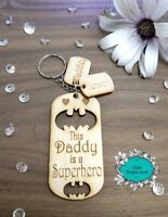 Personalised Wooden Keyring, Superhero, Daddy, Dad, Grandad, Gifts, Fathers day