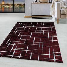 Kurzflor Design Teppich Wohnzimmerteppich Gitter Muster Soft Flor Rot