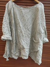 OSFA RITANOTIARA LINEN NATURAL PEARL LAGENLOOK OVERSIZED TOP BOXY SHIRT QUIRKY