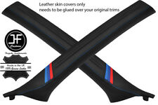 BLUE STITCH M STRIPE 2X A PILLAR REAL LEATHER COVERS FOR BMW 3 E46 COUPE 98-05
