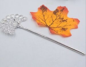 Real S925 Sterling Silver Hairpin Fine Woman's Peacock Opening Wing Hairpin
