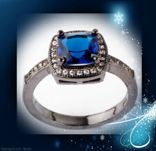 Black Gold Filled Rings 2.89ct Hot Size7 sapphire Square Cz Fashion