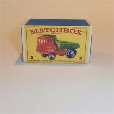 Matchbox Lesney  2 c Muir Hill Dumper empty Repro E style Box