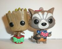 Rocket and Groot Holiday Ornaments Funko Bobbleheads Guardians of the Galaxy
