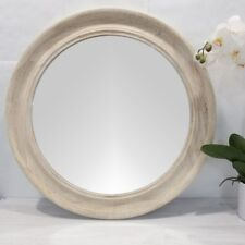 Haven White Wash Wooden Round Mirror/Coastal/Hampton's Beach Style/Timber Mirror