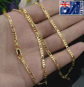 Wholesale 18K Yellow Gold Plated 2mm Classic Figaro Chain Necklace Mens & Womens