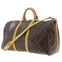 LOUIS VUITTON Keepall Bandouliere 50 Boston Hand Bag Monogram M41416 Auth #HH472