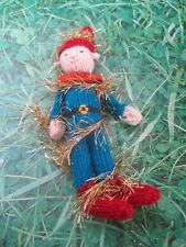 HAND KNITTED GOLD TINSEL XMAS ELF TREE DECORATION? 8 INCHES TALL