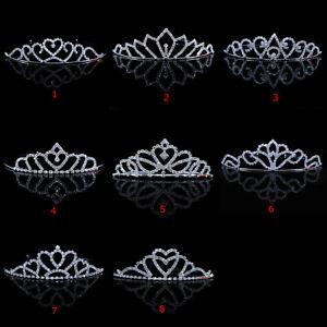 8 Styles Kids Flower Girl Children Wedding Prom Tiara Crown Headband - Kid Size