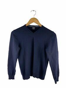Hugo Boss 100% Wool Lightweight Sweater Small Mens Size M Blue Slim Fit Pullover