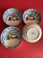 Folk Craft Tienshan 4 Log Home Christmas Bowls Cabin in the Snow