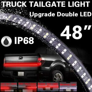 "48"" Double Row LED Truck Tailgate Light Bar Strip Red White Reverse Stop"