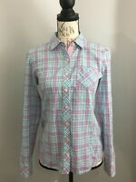 VINEYARD VINES Women's Long Sleeve Plaid Pink Button Front Shirt Top Sz 2 XS