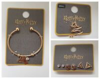 Harry Potter Gold Jewellery Girls Ring Bangles 3/6 Pk Earrings Official Primark