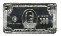 4 Troy Oz .999 Fine Silver Bar William McKinley Design