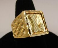 MENS 14KT GOLD EP BLING  LETTER L INITIAL HIP HOP RING -SIZES 8-13