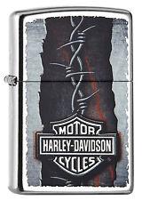 Briquet ZIPPO Harley DAVIDSON-Barbed Wire tete de mort moto biker neuf neuf dans sa boîte