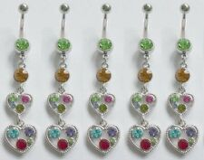 """Ring 14g 7/16"""" 316l Surgical Steel 5pc pack Multi Gem Hearts Dangle Belly"""