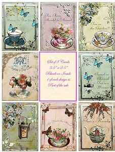 Vintage inspired tea cup quotes small note cards tags set of 8 with envelopes
