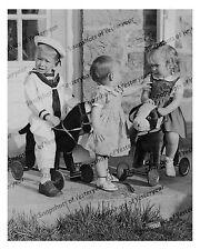 1910s era vintage photo-Children riding plush toy animals-sailor suit-8x10 in