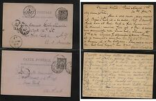 France  postal cards to US   1888 , 1889 nice markings          H0105-33