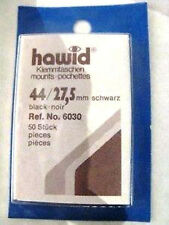 250 (5x50) 44/27.5MM HAWID STAMP MOUNTS BLACK HIGH VALUE - SUPPLIES